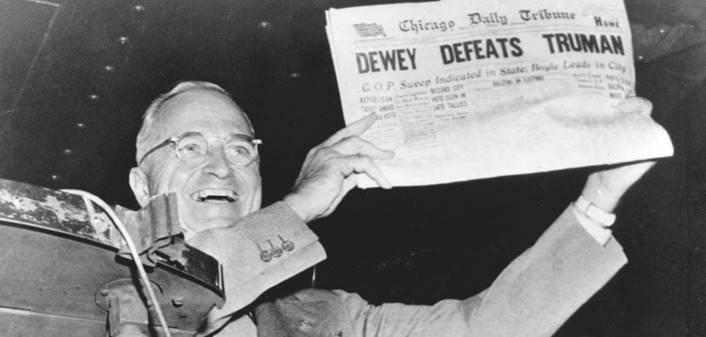 On November 2, 1948, President Truman pokes fun at the expense of his least favourite newspaper, Chicago Daily Tribune